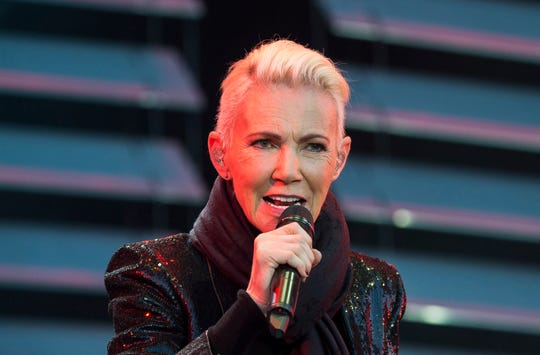 In this file photo dated July 18, 2015, Marie Fredriksson, singer of the pop duo Roxette.
