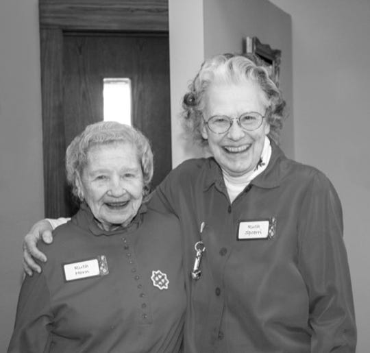 The event's original greeters were Ruth Horn and Ruth Spoerri.