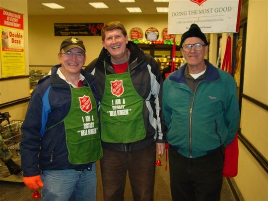 Each year, John S. Pelletier coordinated Rotary's bell ringing, signing up members from Morning and Noon Rotary. Pictured with Pelletier, right, are Roy Kreuger and Don Millage.