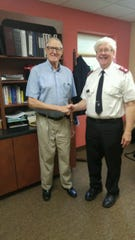 "John S. Pelletier, left, is pictured with Salvation Army Major Jonathon ""Jon"" Welch. Pelletier volunteered with the Salvation Army of Fond du Lac for nearly 20 years."