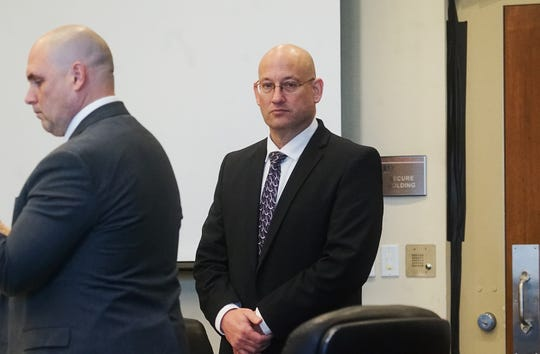 Mark Sievers enters the courtroom Tuesday  during the penalty phase in his trial. Sievers was found guilty last week in the murder of his wife Teresa Sievers. The jury will decide if he receives life in prison or the death penalty.