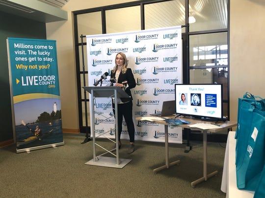 Door County Economic Development Corporation Workforce Development Specialist Kelsey Fox presents Live Door County at its launch event Tuesday.