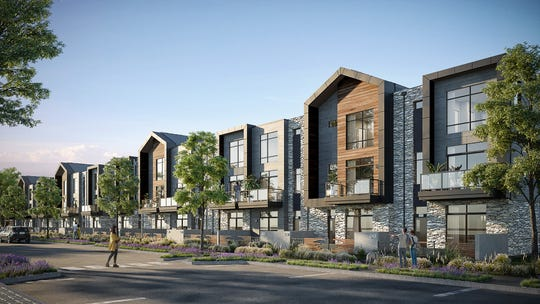 A artist's conception of townhouses in the Green Bay Packers' Titletown District.