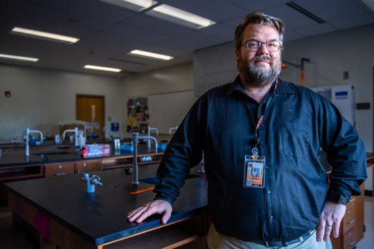 Scott Johnston, a first-year marine science and anatomy and physiology teacher at Southside High School in Greenville.