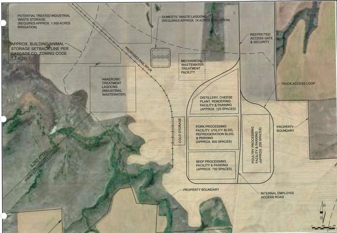 A site plans shows the locations of a distillery, cheese plant, pork, beef and poultry processing areas and waste treatment areas.