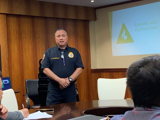 Guam Fire Department Fire Marshal Joey Manibusan on Tuesday afternoon at Adelup talks to the Cannabis Control Board about the unique safety hazards associated with the cannabis industry.