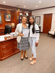 Governor Lou Leon Guerrero recently met with eighth-grade student of Astumbo Middle School Keisha May Ayson, an inspiring young woman committed to making a difference. Ayson wrote to Governor Leon Guerrero requesting more be done at school campuses to lessen our carbon footprint. During a meeting with the Governor this week, Keisha suggested that schools install refillable water bottle fountains, use more fresh produce in school lunches, and reduce the use of plastic when serving meals.