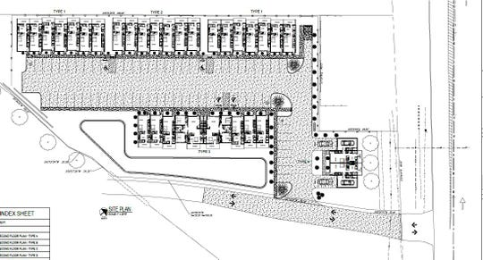 This is an overview of the site plan for the new Eastbrook Townhomes development planned for Zion Road between East Heights Elementary School and Grace Point Church.