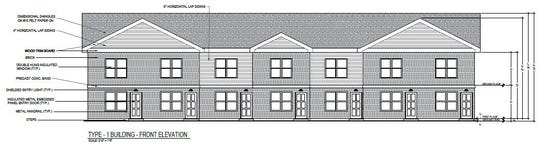 This schematic drawing shows the front of the proposed Eastbrook Townhomes development buildings.