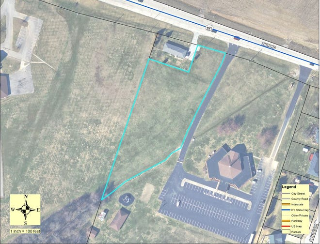 An aerial view of the 1.95-acre footprint of the planned Eastbrook Townhomes development between East Heights Elementary School and Grace Point Church.