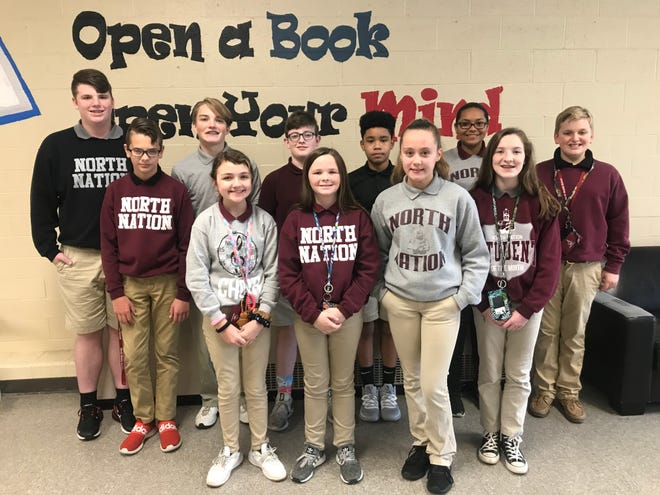 The North Middle School Students of the Month for November 2019 are, first row from left, Conner Brown, Sarah Powell, Emma Piper, Braleigh Plantz, and Emma Roberson. Second row from left, James Hicks, Jeffrey Franklin, Jack Myers, Francisco Guevara, Nevaeh Schwartz, and Jack Logan. Not pictured: Marley Collins.
