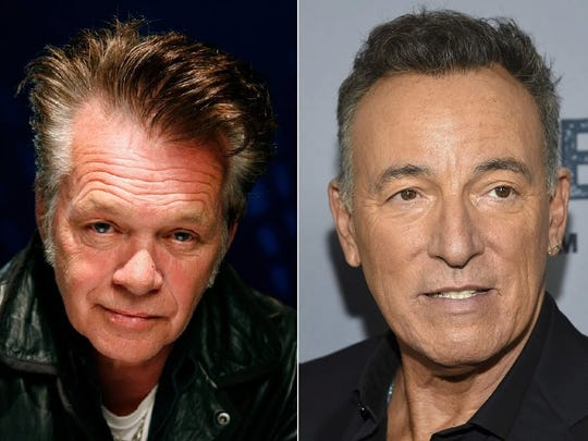 """John Mellencamp, left, and Bruce Springsteen sang """"Pink Houses"""" and """"Glory Days"""" together Monday night in New York."""