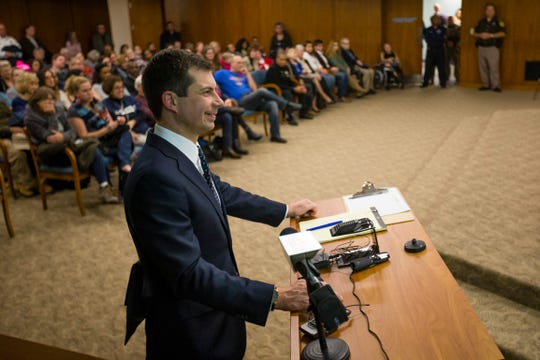 South Bend Mayor Pete Buttigieg addresses the council during the South Bend Common Council Meeting Monday, Dec, 9, 2019 in the County City Building in downtown South Bend.