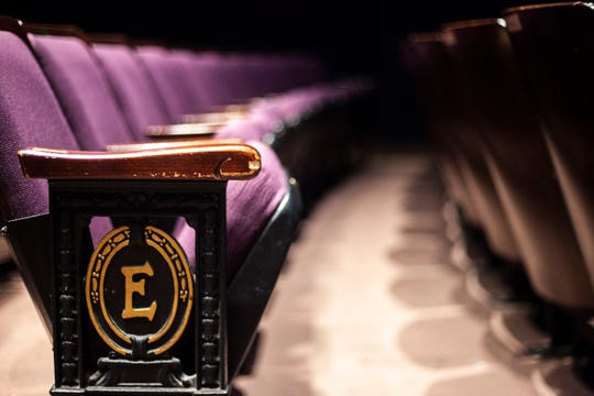 Purple upholstered seats are pictured in the auditorium, Thursday, Dec. 5, 2019, at the Englert Theatre in Iowa City, Iowa.