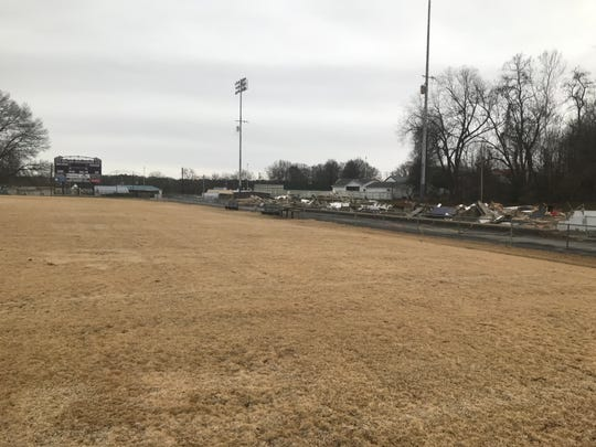 A look at what was the home side of Johnnie Hale Stadium from the field after the bleachers were torn down over the last two weeks.