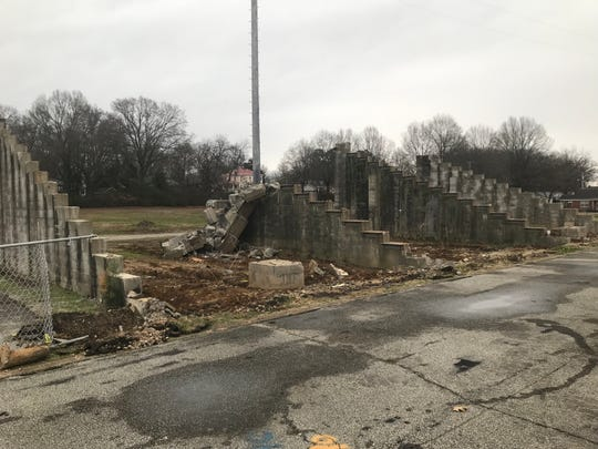The support portions of the former visitors' stands at Johnnie Hale Stadium in Milan still stand but will be brought down eventually during the renovation process.