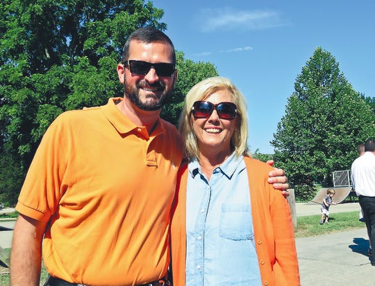 Powell High principal Dr. Chad Smith with school board member Patti Bounds, June 2016.