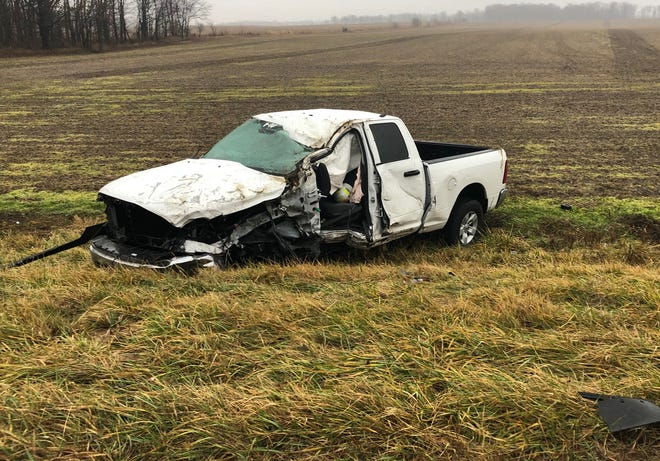 Mark V. Dirksen, 19, of Muncie, was driving this pickup truck eastbound on Indiana 32 in Montgomery County when a minivan crossed the center line and struck him. Dirksen's injuries were not life threatening. The driver of the minivan, Timothy L. Steele, 58, of Ladoga, died in the crash.
