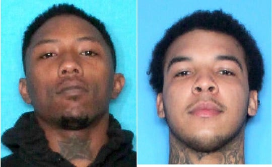 New Orleans Police are searching for LaBryson Polidore, left, and have arrested Stafford Starks, right,  in connection with a shooting on Canal Street that left a dozen people injured.