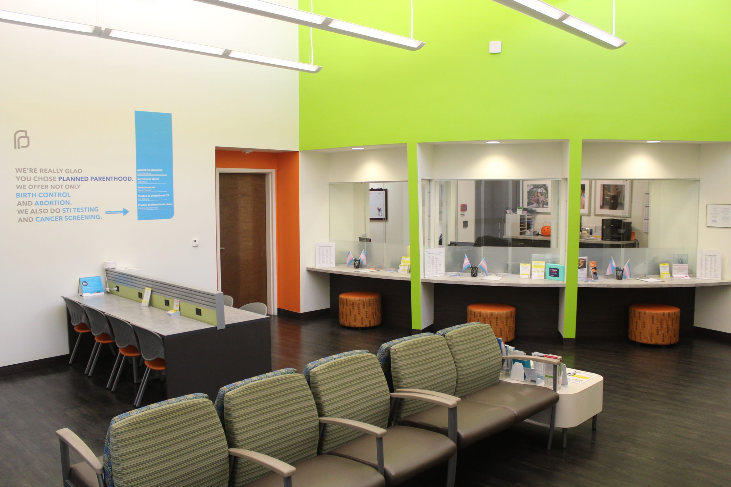 The reception area in the Planned Parenthood in New Orleans where a new gender clinic opened in October to serve LGBTQ patients.
