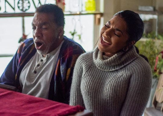 "Actors Stan Shaw and actress and singer Ashanti bond over music in Lifetime channel's TV movie ""A Christmas Winter Song,"" in this movie still from the film's IMDb page. The city of Brighton will host an advanced screen Thursday before it airs on TV."