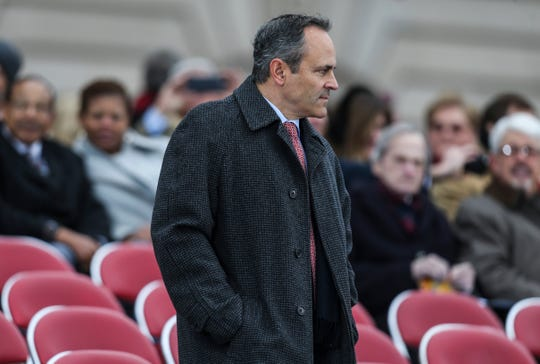 Former Governor Matt Bevin walks to his seat before Gov. Andy Beshear's inauguration at the state capitol in Frankfort Tuesday afternoon. Dec. 10, 2019