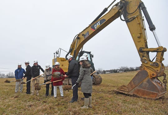 A cermonial groundbreaking for Bellville's new development took place Tuesday afternoon south of town on Ohio Route 13.