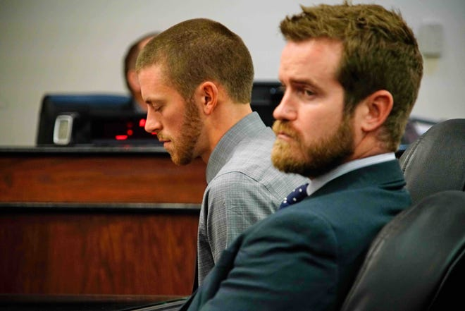 Robert Altenburger, left, appears in Ashland Municipal Court with his attorney Matthew Malone on Monday. Altenburger, a former Hillsdale teacher and cross country coach, was found guilty of five misdemeanor counts of voyeurism.