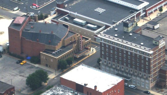 This aerial photograph shows the historic Palace Theatre, left, in downtown Marion. Built in 1928, the theater has been a centerpiece for entertainment in the region since it opened.
