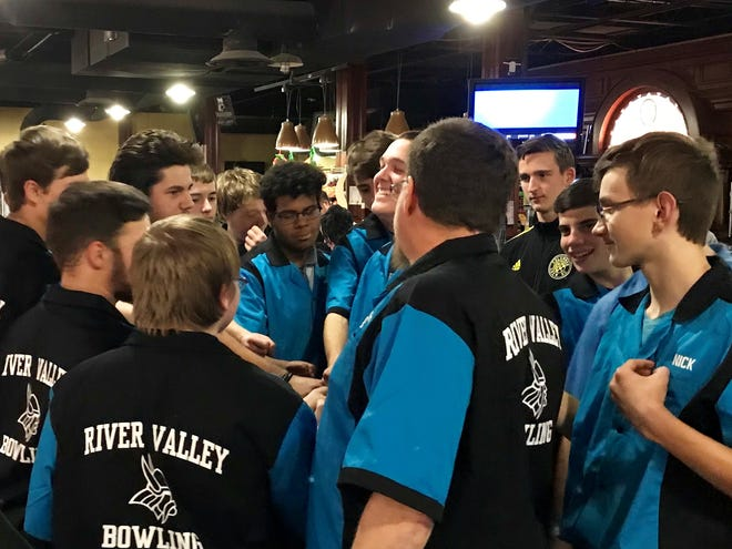 The River Valley bowling teams gather before a match against Pleasant earlier this year at Bluefusion Entertainment. In the wake of the coronavirus situation, the bowling center has shut down until the government says it can reopen.