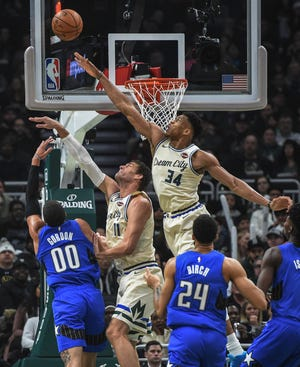 Giannis Antetokounmpo (34)  already had been named defensive player of the year. Center Brook Lopez was one of two Bucks on the all-defensive second team, along with Eric Bledsoe (not pictured).