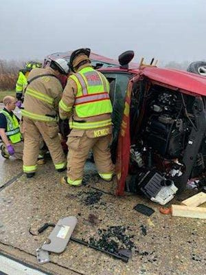 Three people had to be extricated from two vehicles after a crash near Wauwatosa and County Line roads in Mequon on Monday, Dec. 9. A 61-year-old woman died in the crash.