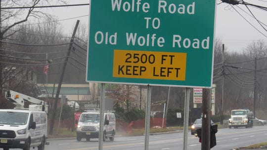 Left turns from Route 46 onto Old Wolfe Road, or off Olde Wolfe Road onto Route 46 West, have been prohibited to cut down on traffic backups and accidents, officials say. Drivers on westbound Route 46 are directed ahead to turn left on Wolfe Road. Dec. 10, 2019.