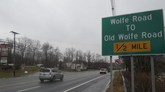 Left turns from Route 46 onto Old Wolfe Road, or off Olde Wolfe Road onto Route 46 West, have been prohibited to cut down on traffic backups and accidents, officials say. Dec. 10, 2019.