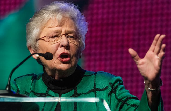 Alabama Governor Kay Ivey welcomes those attending the Alabama Farmers Federation meeting in Montgomery, Ala., on Monday evening December 9, 2019.