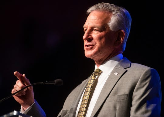 Senate Candidate Tommy Tuberville addresses the Alabama Farmers Federation meeting in Montgomery, Ala., on Monday evening December 9, 2019.