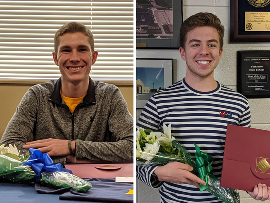 Zachary Stanley of Delta High School (left) and Thomas Wilhoite of Yorktown High School are recipients of the 2020 Lilly Endowment Community Scholarship.
