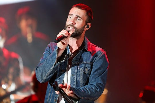 Adam Levine of Maroon 5 performs at the We Can Survive Concert at the Hollywood Bowl on Saturday, Oct. 24, 2015, in Los Angeles. Press photography was permitted at Maroon 5's BMO Harris Bradley Center concert Monday.