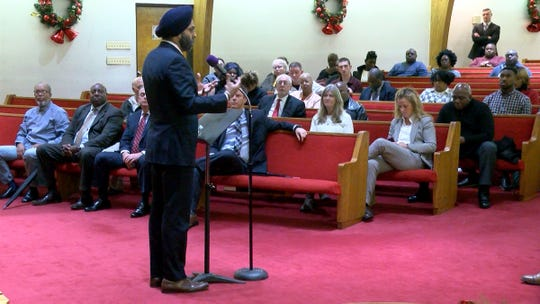 New Jersey Attorney General Gurbir Grewal participates in a community listening session with Monmouth County Prosecutor Christopher Gramiccioni at St. Stephen AMEZ Church in Asbury Park Monday evening, December 9, 2019.