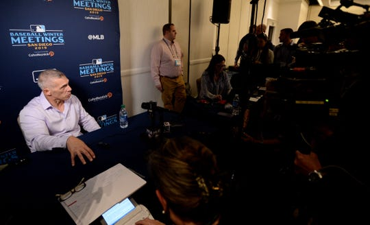 Philadelphia Phillies manager Joe Girardi (left) speaks to the media during the MLB Winter Meetings at Manchester Grand Hyatt.