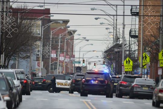 Police respond to an active shooter situation in Jersey City on Dec. 10, 2019.