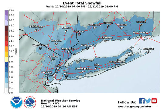 Snow forecast for Dec. 10, 2019 in North Jersey and New York.