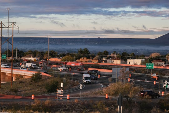 Construction on US 70 slows traffic during rush hour in Las Cruces on Tuesday, Dec. 10, 2019.