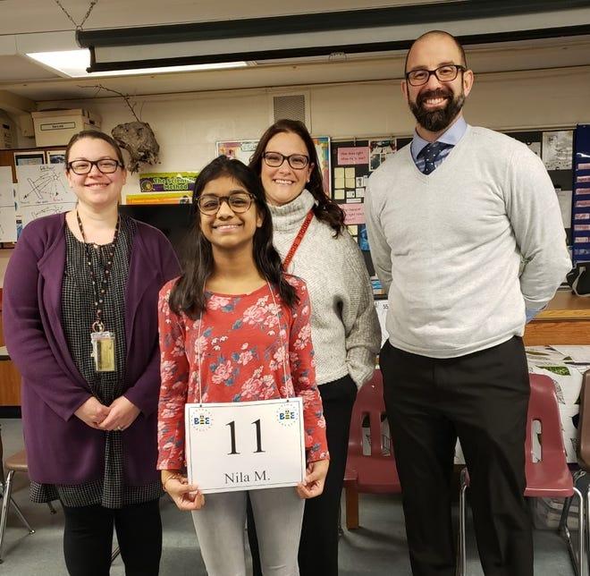 Nila Muthusamy won the Hillside Middle School spelling bee.