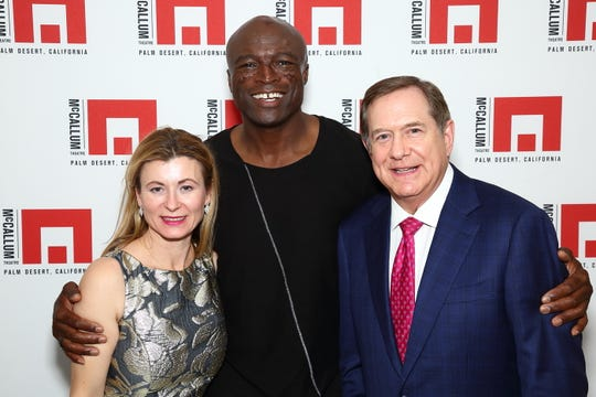 The evening's entertainer, Seal, greeted Renata Baranow and Gold Circle Sponsor Jordan Schnitzer.