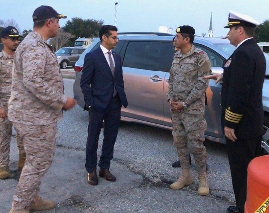 On Monday, Dec. 9, 2019, Saudi Arabia Defense Attaché Major General Fawaz Al Fawaz (second from right, seen here with his Embassy staff and other officials prior to) met with the Saudi students who remain restricted to the NAS Pensacola base by their Saudi commanding officer.