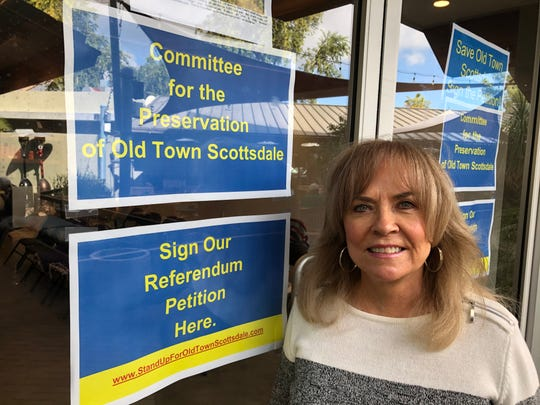 Janet Wilson, the chairperson for the Committee for the Preservation of Old Town Scottsdale, stands outside the group's office at 7051 E. Fifth Avenue on Monday morning.