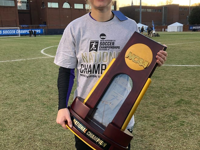 Lydia Ewing, a Palmyra resident, was in goal when the Messiah College women's soccer team won the Division III National Championship over the weekend.
