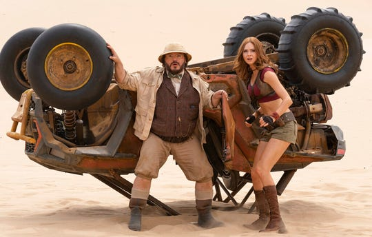 """Jack Black, left, and Karen Gillan star in """"Jumanji: The Next Level."""" The movie opens Thursday at Regal West Manchester, Queensgate Movies 13 and R/C Hanover Movies."""