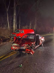 Two adults and one child are in stable condition after a head-on crash Monday night in Hopewell Township.